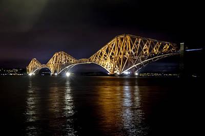 Bridge Over Water Lights. Art Print