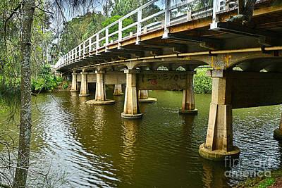 Photograph - Bridge Pillars And Reflections By Kaye Menner by Kaye Menner