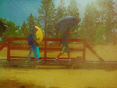 Photograph - Bridge, Rain And Umbrellas by Larry Campbell