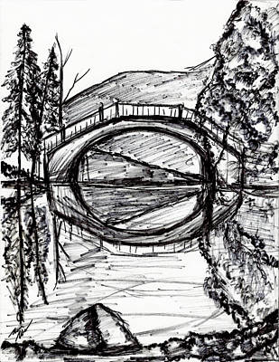 Hdr Drawing - Bridge Reflection Marker Black White Drawing by Laura Haro