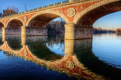 Po Photograph - Bridge Reflection On River by Andrea Mucelli