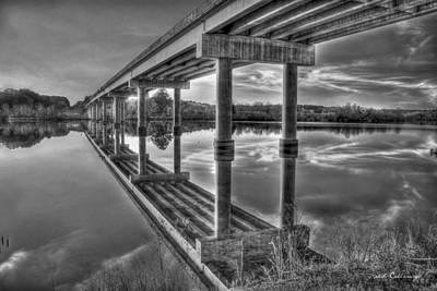 Bridge Reflections Black And White Bridge Art Art Print by Reid Callaway