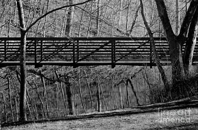 Photograph - Bridge Reflections Black And White by Karen Adams
