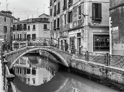 Photograph - Bridge Reflections In Venice by Georgia Fowler