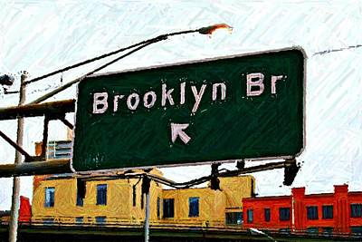 Nyc Digital Art - Bridge Thisaway Sketch by Randy Aveille