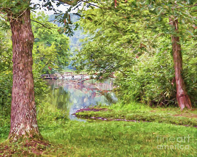 Photograph - Bridge Through The Trees - Impasto Style Art by Kerri Farley
