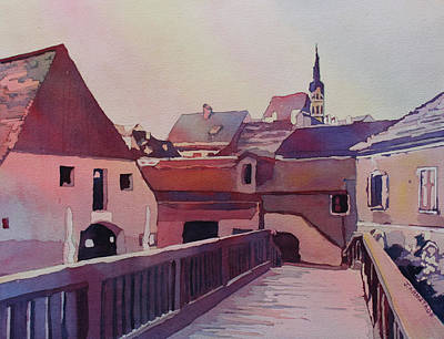 Bridge To Cesky Krumlov Art Print by Jenny Armitage
