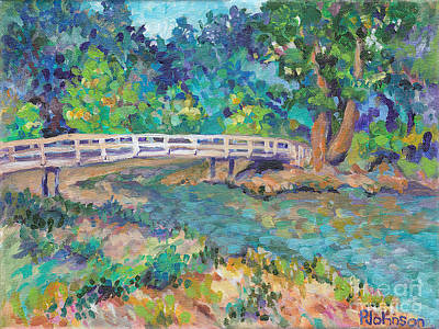 Juxtapose Painting - Bridge To The Woods by Peggy Johnson