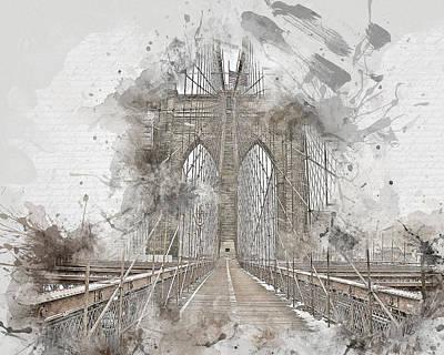 Brooklyn Bridge Mixed Media - Bridge Wide Open by Melissa Smith