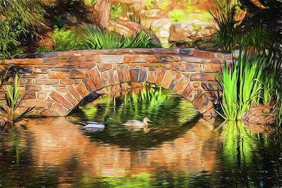 Photograph - Bridge With Ducks by Wade Brooks
