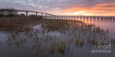 Bridges At Sunrise In Apalachicola Print by Twenty Two North Photography