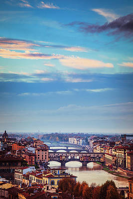 Tuscan Dusk Photograph - Bridges Of Florence by Andrew Soundarajan
