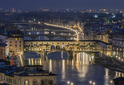 Piazza Della Repubblica Photograph - Bridges Of Florence At Night In Italy by Ayhan Altun