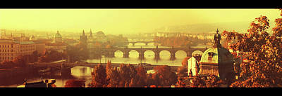 Photograph - Bridges Of Golden Prague. Autumn Panorama With Black Frames by Jenny Rainbow