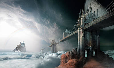 Surrealism Royalty-Free and Rights-Managed Images - Bridges to the Neverland by George Grie