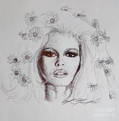 Drawing - Bridget Bardot by Chris Mackie