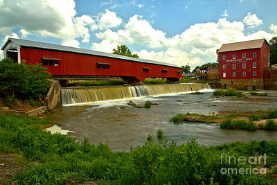 Photograph - Bridgeton Covered Bridge And Grist Mill by Adam Jewell