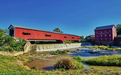 Bridgeton Covered Bridge And Mill Art Print by Mountain Dreams