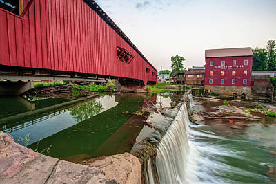 Photograph - Bridgeton Covered Bridge And Red Mill by Gregory Ballos