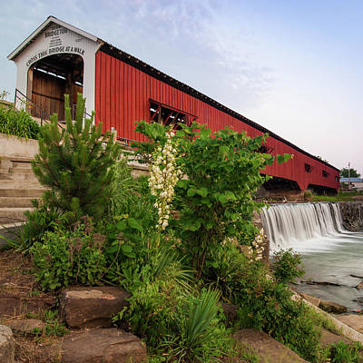 Photograph - Bridgeton Covered Bridge - Indiana Square Art by Gregory Ballos