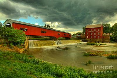 Photograph - Bridgeton Indiana Grist Mill Summer Storms by Adam Jewell