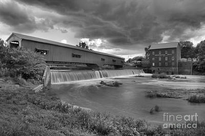 Photograph - Bridgeton Indiana Grist Mill Summer Storms Black And White by Adam Jewell