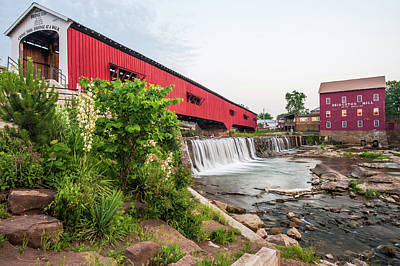 Photograph - Bridgeton Indiana Mill And Covered Bridge by Gregory Ballos