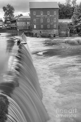 Photograph - Bridgeton Indiana Spillway Black And White by Adam Jewell