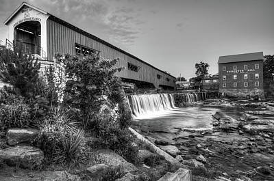 Old Mill Scenes Photograph - Bridgeton Mill And Covered Bridge - Indiana - Black And White  by Gregory Ballos