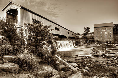 Photograph - Bridgeton Mill And Covered Bridge - Indiana - Sepia by Gregory Ballos