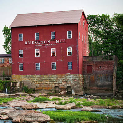 Royalty-Free and Rights-Managed Images - Bridgeton Mill - Indiana Square Art by Gregory Ballos