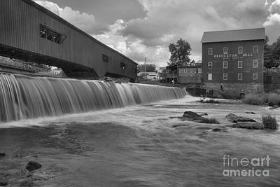Photograph - Bridgeton Mill Spillway Black And White by Adam Jewell