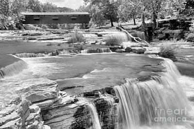 Photograph - Bridging Cataract Falls Black And White by Adam Jewell