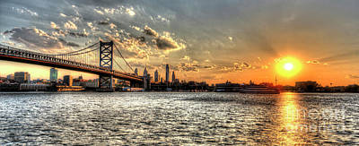 Bridging Two Cities. Philly Skyline View From Camden. Art Print by Mark Ayzenberg