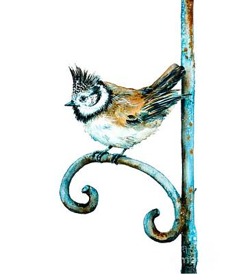 Titmouse Painting - Bridled Titmouse by Zaira Dzhaubaeva