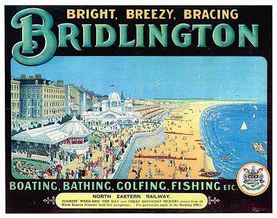 England Mixed Media - Bridlington, England - Retro Travel Advertising Poster - Vintage Poster - Beach View - Coastal Town by Studio Grafiikka