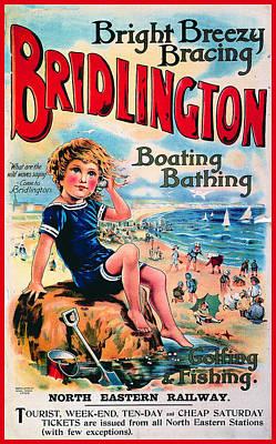 England Mixed Media - Bridlington, England - Retro Travel Advertising Poster - Vintage Poster - Little Boy On The Beach by Studio Grafiikka