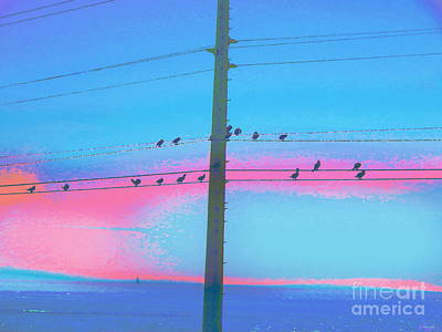 Digital Art - Brids On Wires  by Expressionistart studio Priscilla Batzell