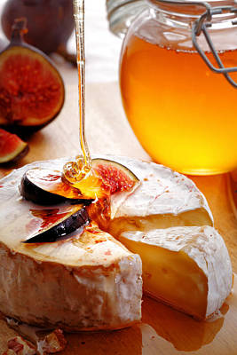 Studio Shot Photograph - Brie Cheese With Figs And Honey by Johan Swanepoel