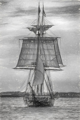 Photograph - Brig Niagara In Charcoal by Guy Whiteley