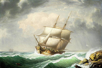 Painting - Brig Off The Maine Coast By Fitz Henry Lane  1851 by Fitz Henry Lane