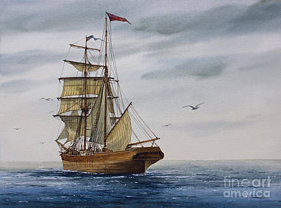 Brigantine Making Sail Art Print by James Williamson