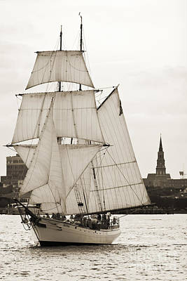 Harbor Photograph - Brigantine Tallship Fritha Sailing Charleston Harbor by Dustin K Ryan