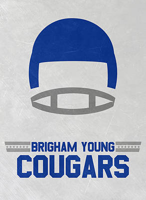 Mixed Media - Brigham Young Cougars Vintage Football Art by Joe Hamilton