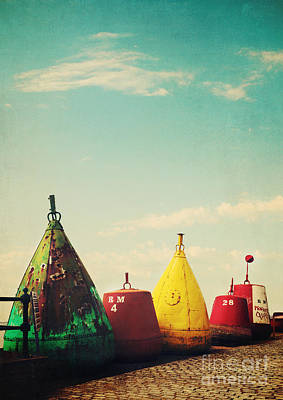 Brighly Coloured Buoys Art Print