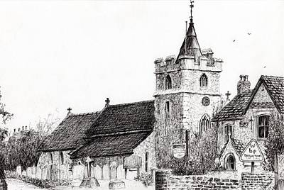 Tower Drawing - Brighstone Church by Vincent Alexander Booth