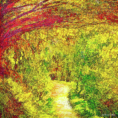 Art Print featuring the digital art Bright Afternoon Pathway - Trail In Santa Monica Mountains by Joel Bruce Wallach