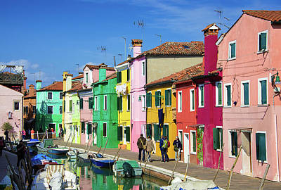 Photograph - Bright And Vibrant Colorful Houses In Burano Venice Italy by Matthias Hauser