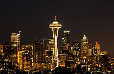 Photograph - Bright At Night - Space Needle by E Faithe Lester