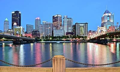 Photograph - Bright Blue Hour Pittsburgh by Frozen in Time Fine Art Photography